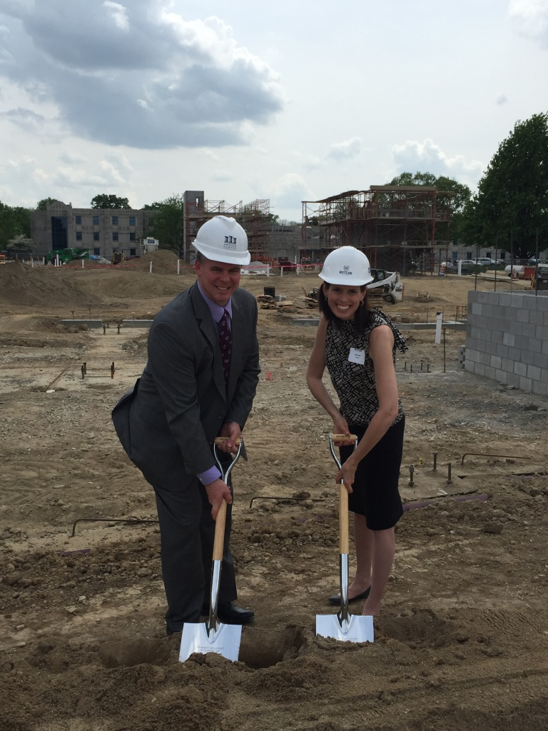 David and Jennifer, two members of Cripe's civil engineering team, at Butler's groundbreaking ceremony.